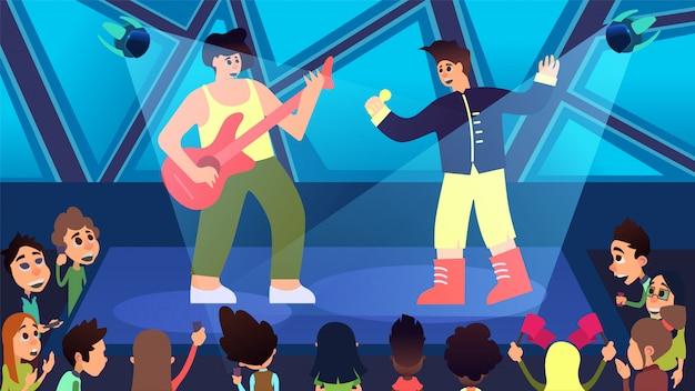 次世代のコンサートとパーティーの漫画 無料ベクター