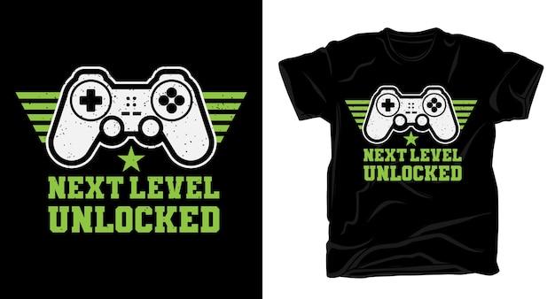 Разблокированная типографика следующего уровня с футболкой с игровым контроллером Premium векторы