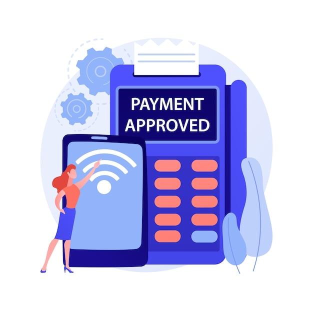 Иллюстрация вектора абстрактного понятия соединения nfc. банковское соединение, связь nfc, метод оплаты бесконтактной картой, банковские технологии, финансовые транзакции, абстрактная метафора платежного приложения. Бесплатные векторы