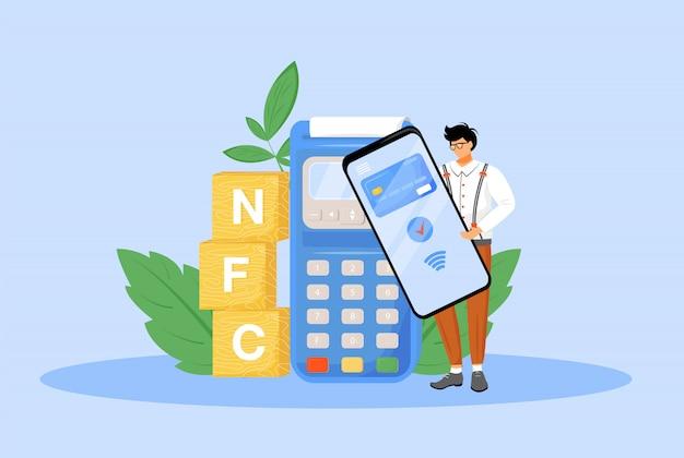 Nfc оплаты плоской концепции иллюстрации. человек, используя смартфон для бесконтактных платежей 2d мультипликационный персонаж для веб-дизайна. электронное платежное приложение, близкая полевая коммуникационная технология креативная идея Premium векторы