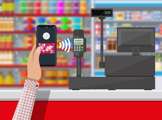 Nfc оплата в супермаркете Premium векторы