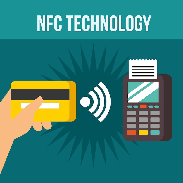 Nfc payment technology dataphone hand holding credit card Premium Vector