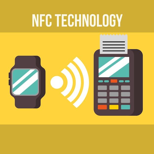 Nfc payment technology wristwatch signal dataphone pay Premium Vector