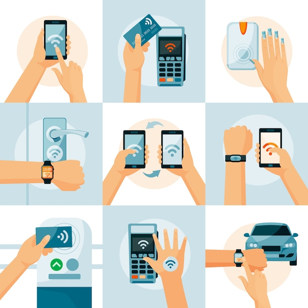 Nfc technology flat style concept Free Vector