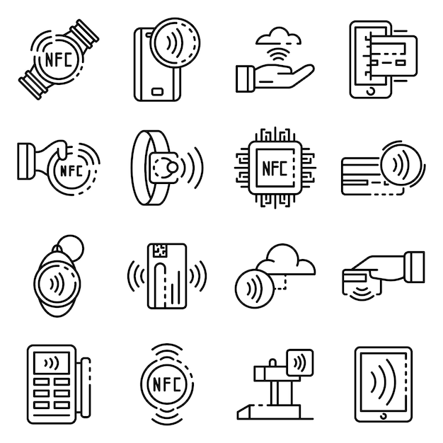 Nfc technology icons set, outline style Premium Vector