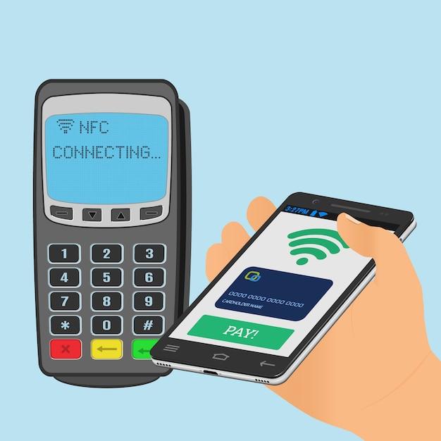 Беспроводная оплата с технологией nfc с использованием смартфона. Premium векторы