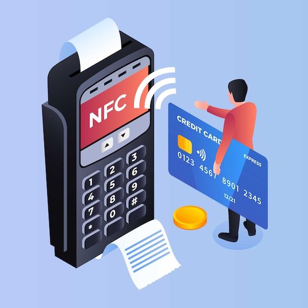 Nfc支払い銀行端末の背景、アイソメ図スタイル Premiumベクター