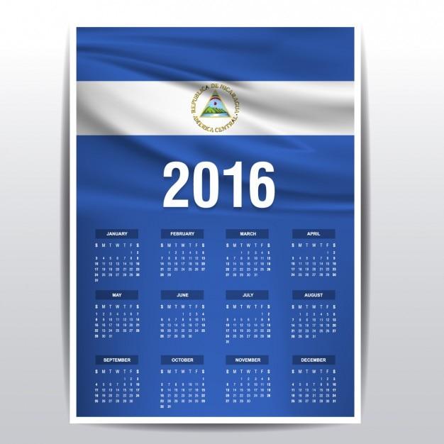 Nicaragua calendar of 2016 Free Vector