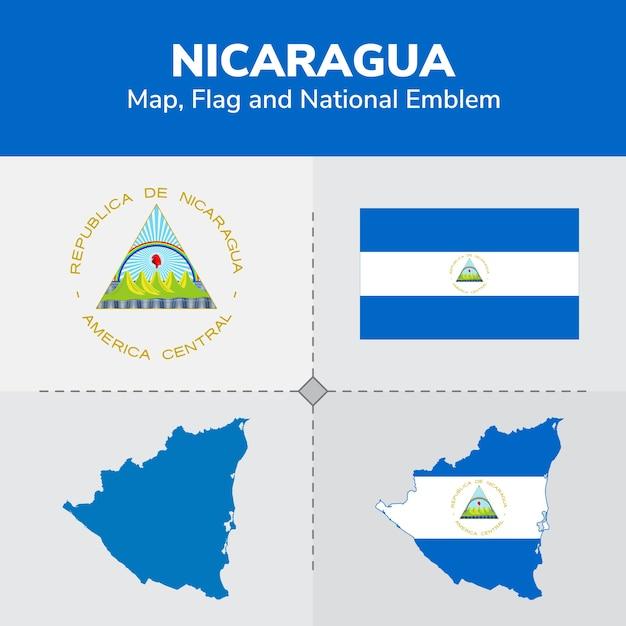 Nicaragua Map Flag And National Emblem Vector Premium Download - Nicaragua map download