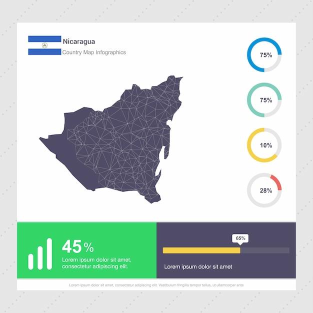 Nicaragua map & flag infographics template Premium Vector
