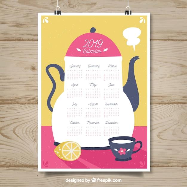 Nice 2019 calendar in flat design  Free Vector
