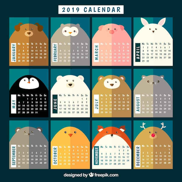 Nice 2019 calendar with animals Free Vector