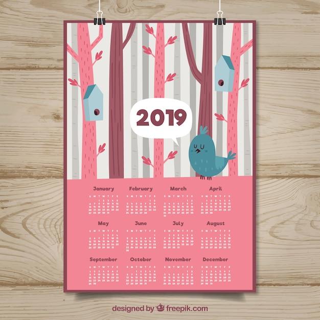 Nice 2019 calendar with birds Free Vector