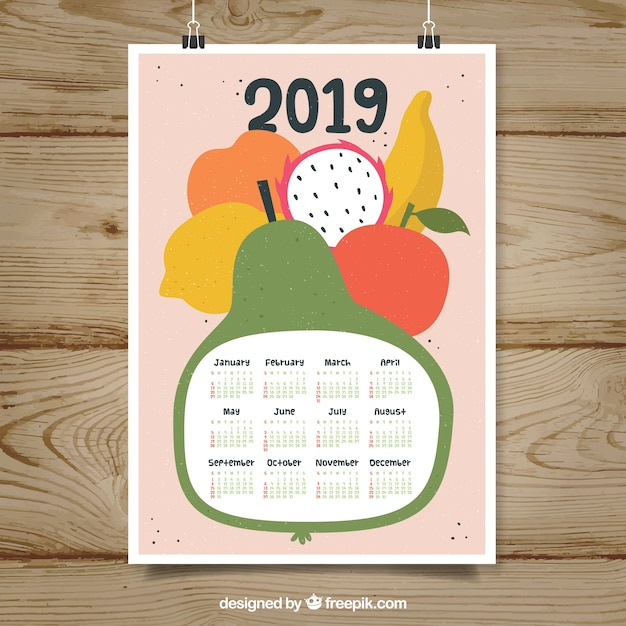 Nice 2019 calendar with fruits Free Vector