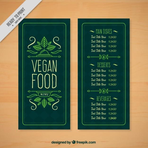 دست منو کشیده زیبا و ساده برای یک رستوران های گیاهی