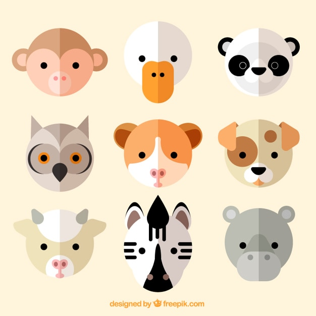 Avatar 2 Animals: Nice Animal Avatar Collection In Flat Design Vector