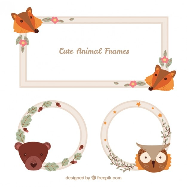 nice animal faces frames vector premium download