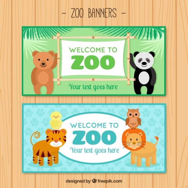 Nice animals welcome to zoo banners