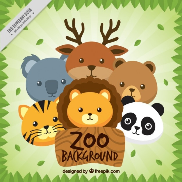 Nice animals zoo background Free Vector