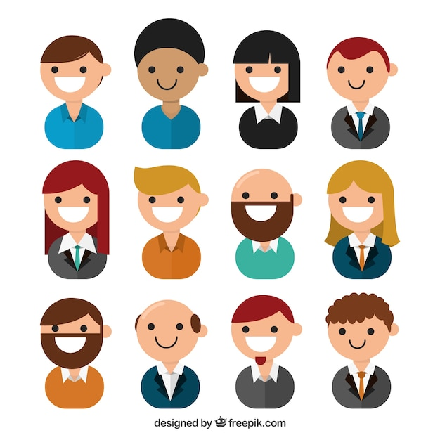 Cartoon Character Design Psd : Nice avatars business people vector free download
