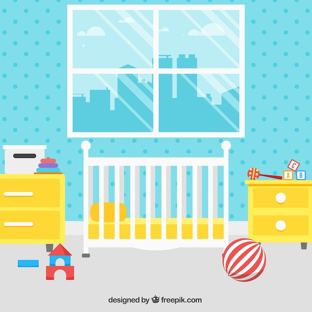 Nice baby room with yellow furniture and blue wall Free Vector