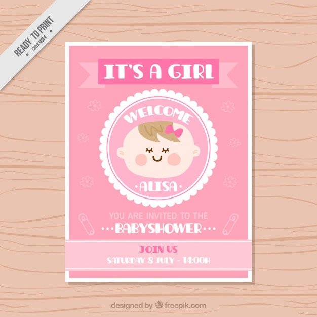 Nice baby shower card in pink color