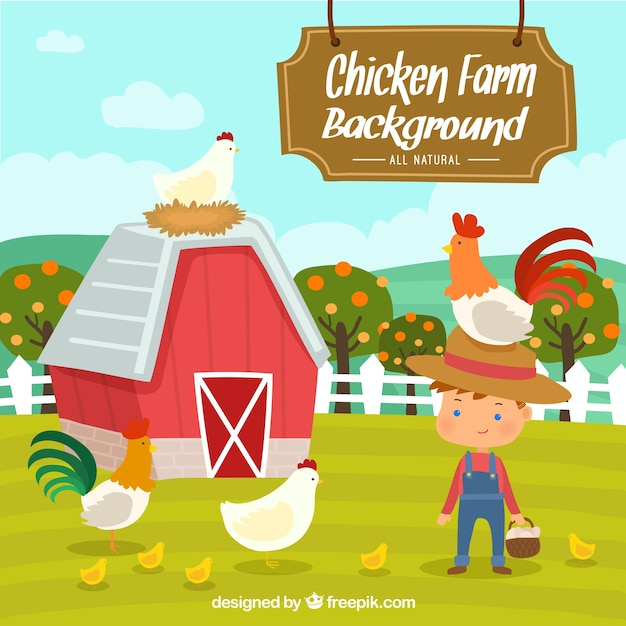 Nice background of farmer with hens Free Vector