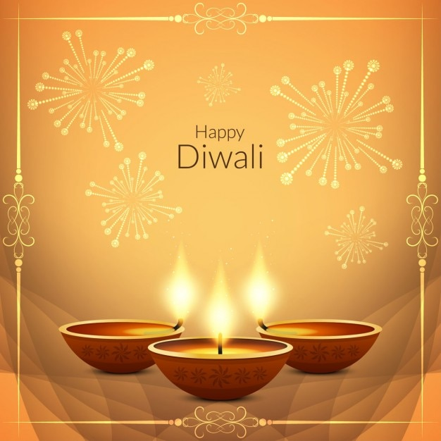 Nice background for diwali decorated with fireworks Free Vector