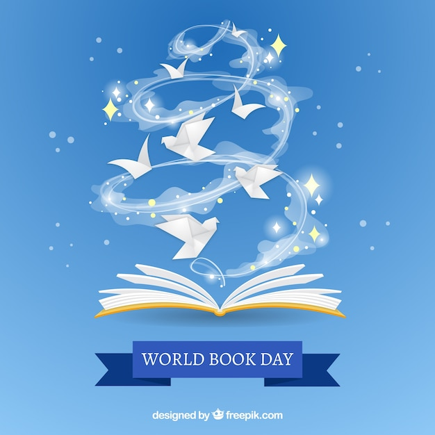 Nice background for the world book day Free Vector