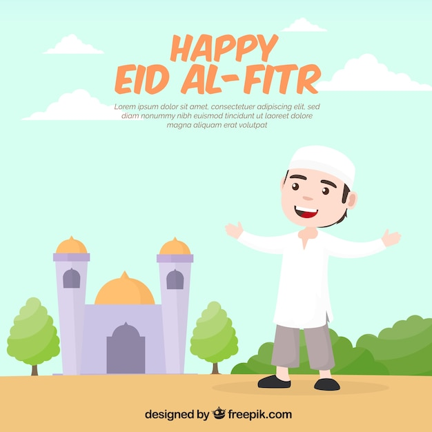 Nice background of happy eid al-fitr Free Vector