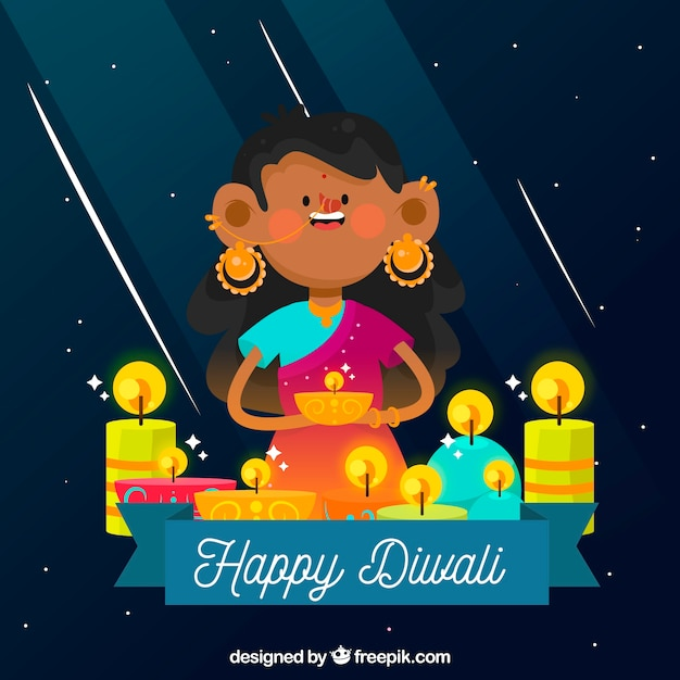 Nice background of girl celebrating diwali with candles