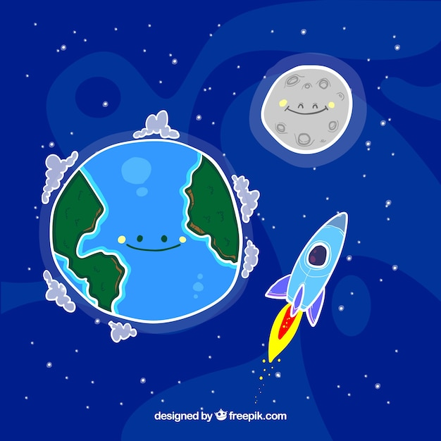 Nice background of hand drawn earth with moon and rocket