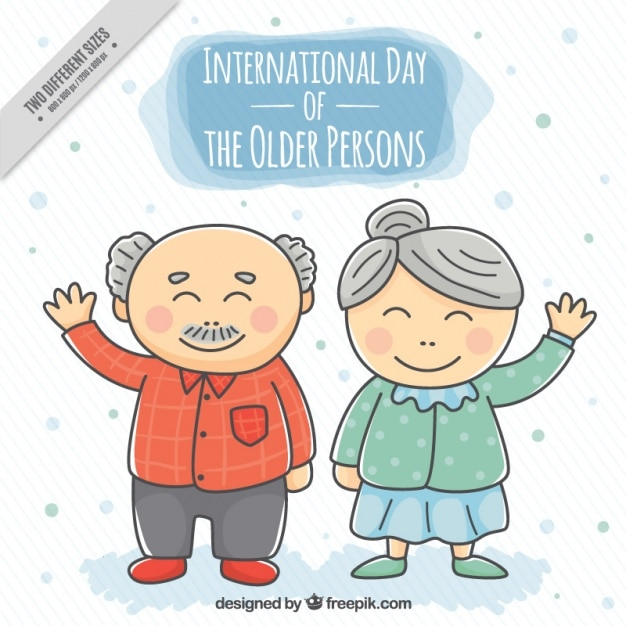 Nice background of hand-drawn grandparents greeting  Free Vector