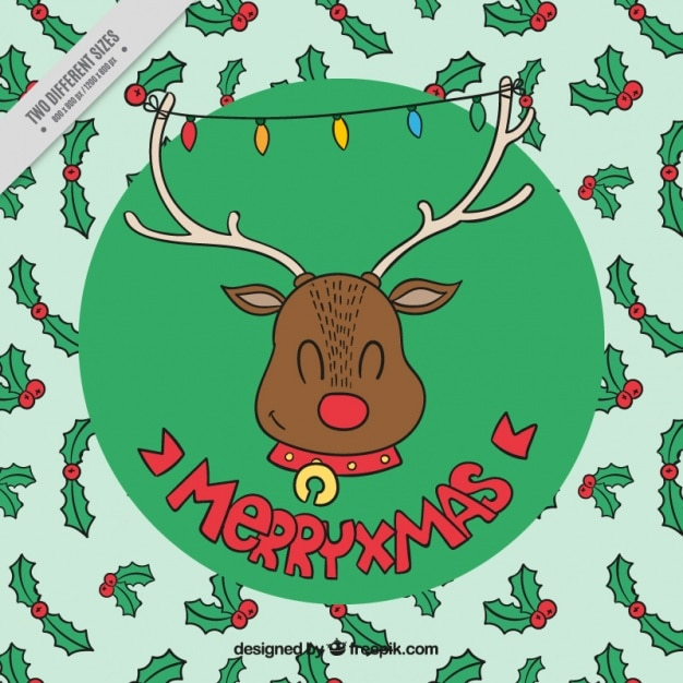 Nice background of happy reindeer with hand drawn mistletoe