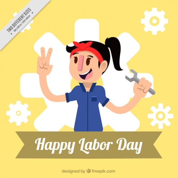 Nice background of labor day with mechanical woman