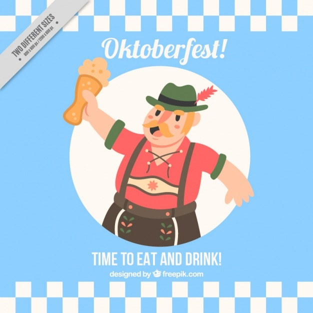 Nice background oktoberfest man with beer in vintage style