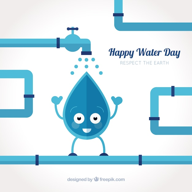 Nice background of water drop and pipes Free Vector