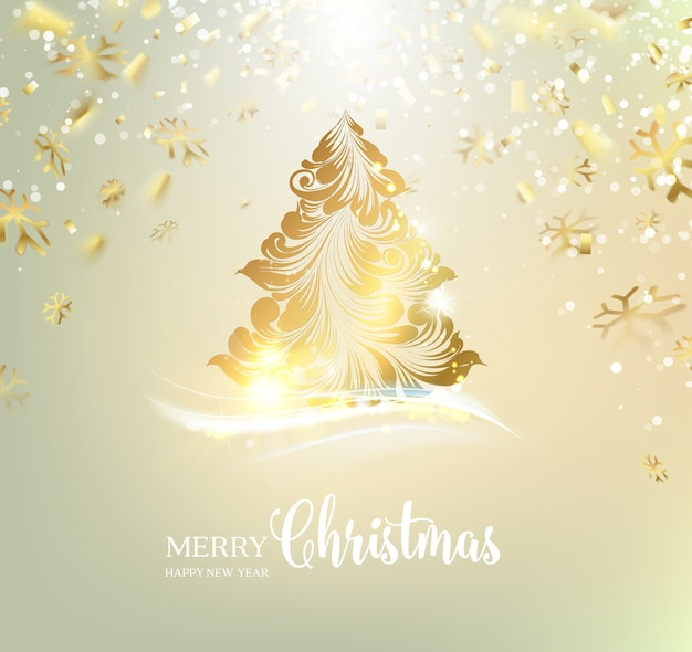 Nice Background With A Golden Christmas Tree Premium Vector