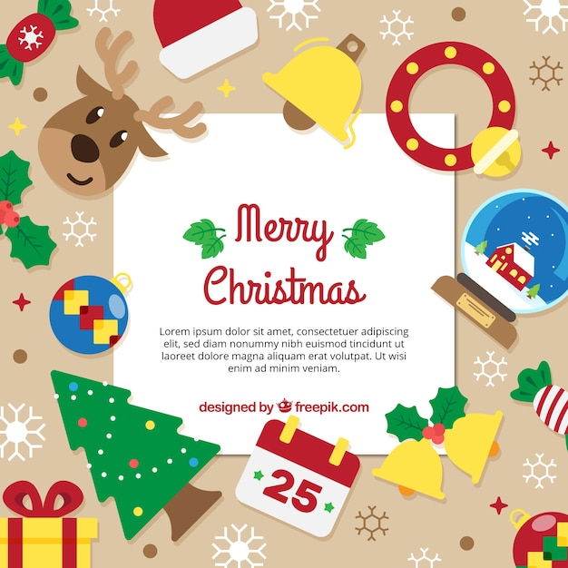 Nice background with christmas elements in flat design