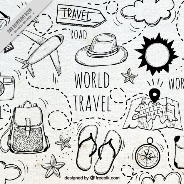 Nice background with hand-drawn travel elements Premium Vector
