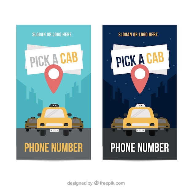 Nice banners of taxi with pin map