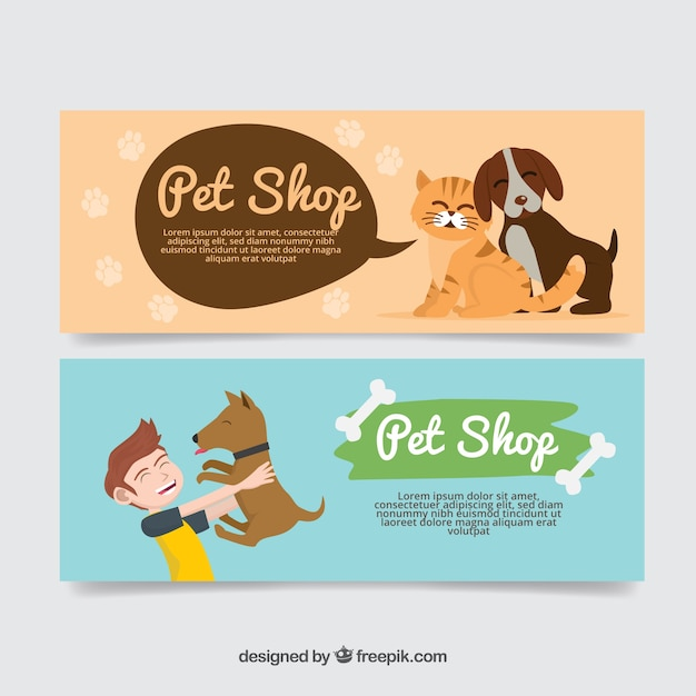Nice banners with animals Free Vector