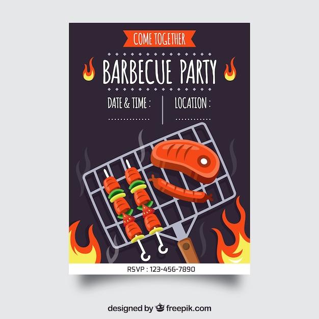 Красивый плакат для барбекю в плоском дизайне Бесплатные векторы