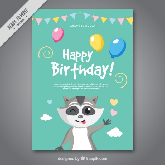 Happy Birthday Editable Card Free Vector Download 15 733: Nice Birthday Card With A Raccoon Vector