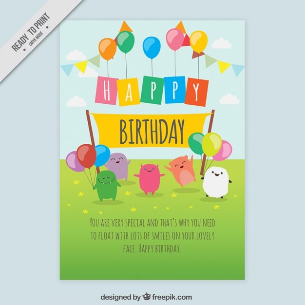 Nice Birthday Card With Hand Drawn Characters Vector Free Download