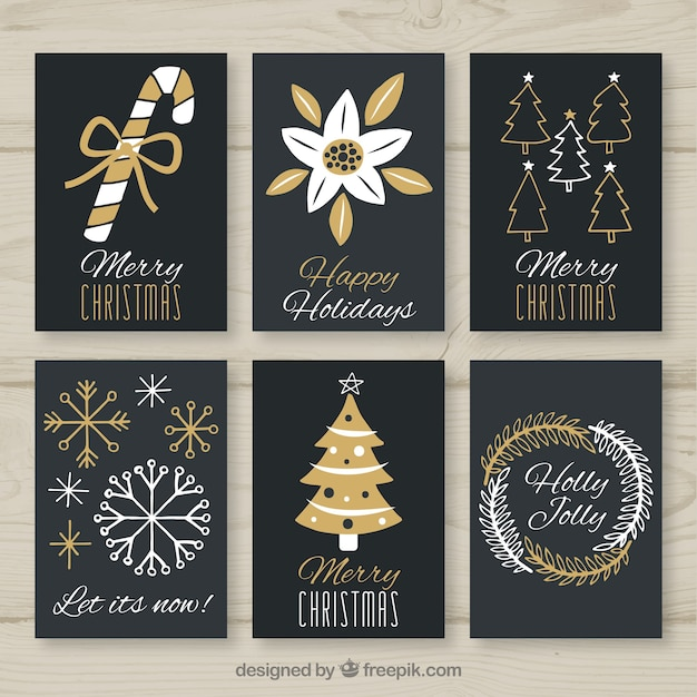 Nice black and golden collection of greeting cards for christmas