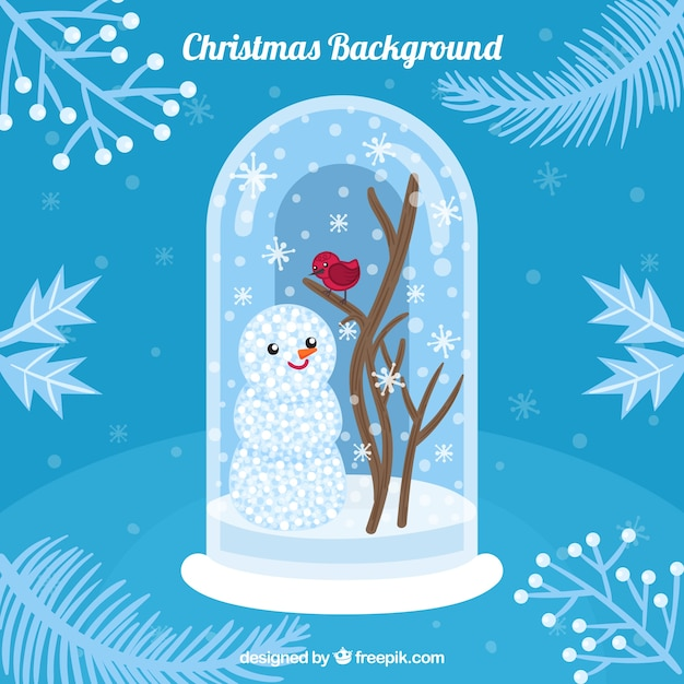 Nice blue christmas background with a snowman