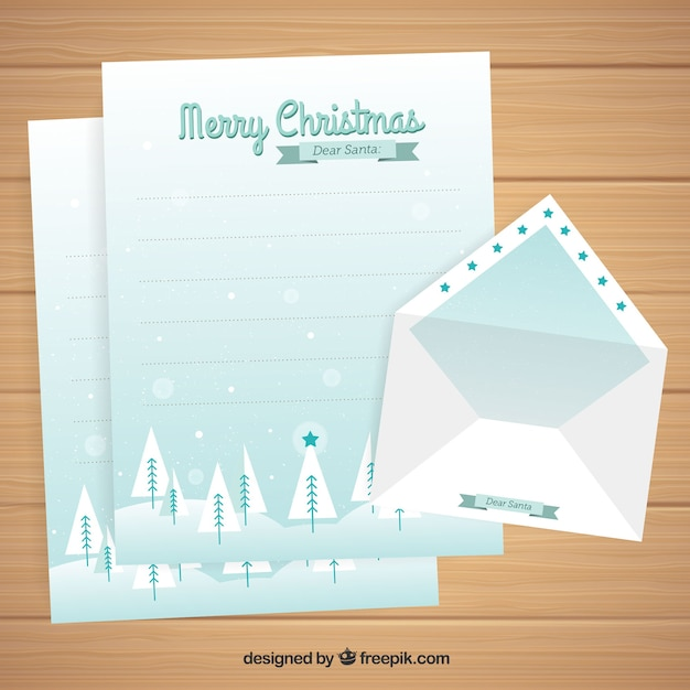 Nice blue letter template for christmas