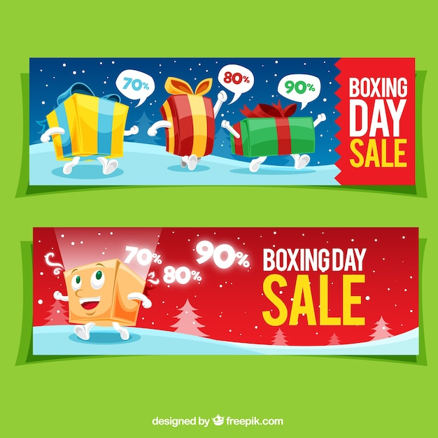 Nice boxing day sale banners with gift\ boxes