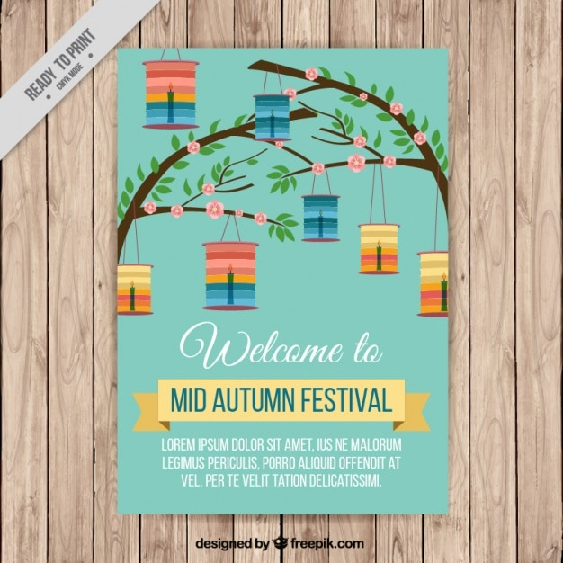 Nice brochure branches with lanterns of mid autumn festival vector nice brochure branches with lanterns of mid autumn festival free vector stopboris Images
